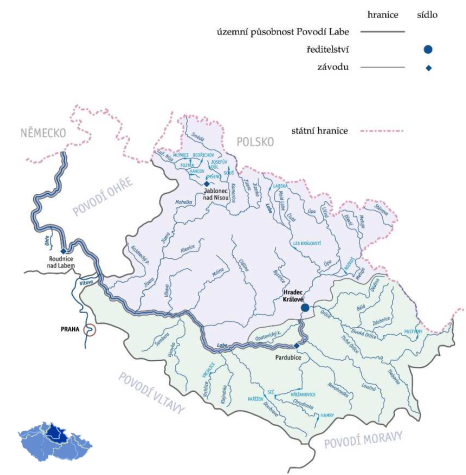 Správci vodních toků: Povodí Labe území