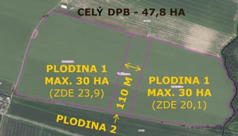 2 plochy stejné plodiny ve vzdálenosti min 110 m