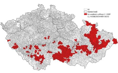 znázornění katastrálních území, pro která aktuálně platí OOP